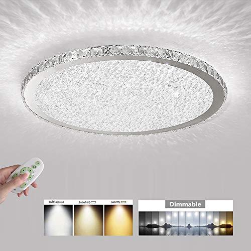 LED Metall Ring Deckenleuchten, Ultra dünn Design Deckenlampe, Mosaik Kristall, Dimmbar mit Fernbedienung Wohnzimmerlampe, Romantisch Schlafzimmer Dekorative Lichter, 12W,840Lumen/24W,1680Lumen,D45cm