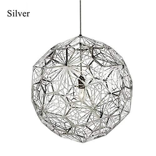 Lámpara moderna del oro de cobre de plata Etch Web luces pendientes Tom Dixon diamante del acero inoxidable Polígono colgante para sala de estar, de plata, Dia40cm # 1055