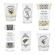 """licensed Game of Thrones Shots glasseset consisting of 6 shot glasses with coats of arms and spells Coat of Arms of Stark, Targaryen, Lannister Baratheon, """"Valar morghulis"""" and """"Valar dohaeris"""" Capacity 2 x 5 cl, 2 x 7.5 cl, 2 x 10 cl not suitable fo..."""