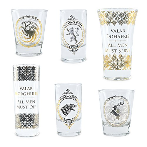 Game Of Thrones Vasos Set of 6 Black and Gold Premium Juego de...