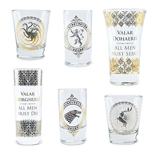 Game Of Thrones Vasos Set of 6 Black and Gold Premium Juego...