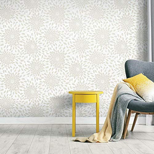 RoomMates Toss The Bouquet Beige Peel and Stick Wallpaper | Removable Wallpaper | Self Adhesive Wallpaper