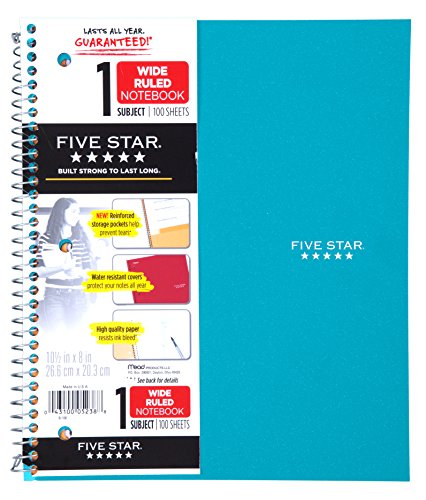 """Five Star Spiral Notebook, 1 Subject, Wide-Ruled Paper, 100 Sheets, 10-1/2"""" x 8"""", Teal (72875)"""