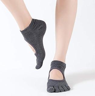 B/H, B/H Calcetines Antideslizantes para Mujeres,Calcetines de Yoga de Cinco Dedos sin Espalda pegados para Mujer-B_One Size,Ideales para Yoga