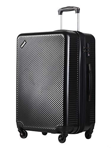 スーツケース(unite star)キャリーバッグ キャリーケース 軽量 大容量拡張機能 ファスナー式 旅行 ビジネス 出張 人気色 安心の1年保証 TSAローク搭載 大型 静音キャスター 耐衝撃 かわいい スムーズ走行 8049 黒 L