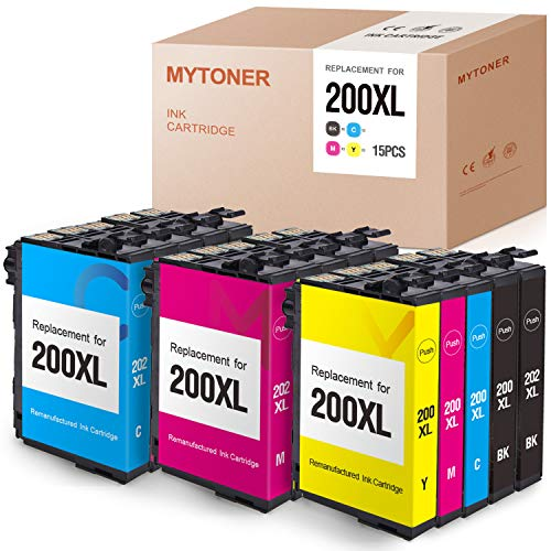 MYTONER Remanufactured Ink Cartridge Replacement for Epson 200 XL 200XL T200XL T200 for Expression XP-200 XP-300 XP-310 XP-400 XP-410 WF-2520 WF-2530 WF-2540 (6 Black,3 Cyan Magenta Yellow, 15-Pack)