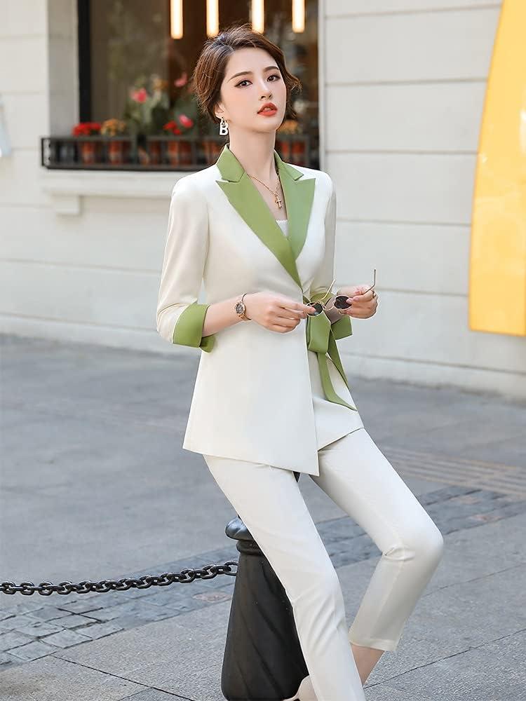 NJBYX Women Ladies Winter Pant Suit With Bow Belt Design Business 2 Piece Set (Color : A, Size : M code)
