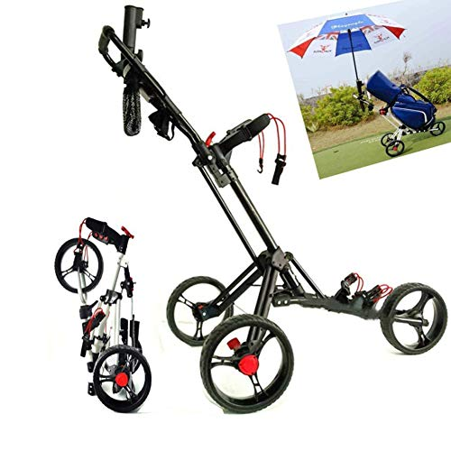 Great Deal! April Story Upgrade 3 Wheels Golf Trolley Foldable with Adjustable Push Handle Easy Carry and Fold,White