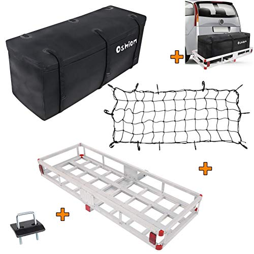 """60""""x22""""x7"""" Hitch Mount Cargo Carrier, Vehicle Cargo Baskets, Aluminum Rear Luggage Rack for SUV, Truck, Car (Includes Cargo Net, hitch cargo carrier, Stabilizer, Waterproof Cargo Bag) 500 lbs Capacity"""