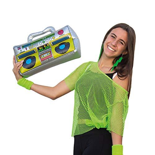 Oblique Unique® Boombox Radio aufblasbar Wasserspielzeug Badespielzeug für Pool Strand Sommer Badespaß Fasching Karneval Motto Party 80s 80er Jahre Deko