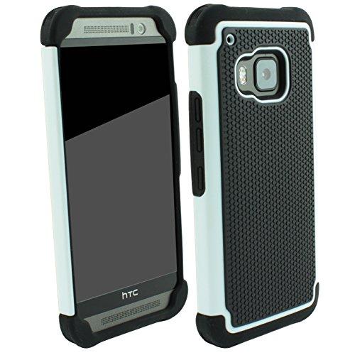 Outdoorschutzhülle für HTC ONE M9 Hülle inkl. Pnzerglas 9H transparent Outdoor Weiß Weiss Cover Hybrid Schutz Hülle Sturz Bumper Folie Schwarz Black White