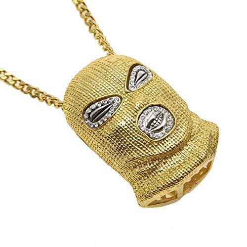 HONGBIZI Ein Hip-Hop-Anti-Terror-Kondom. Gold + 5 mm goldene Kubanische Kette