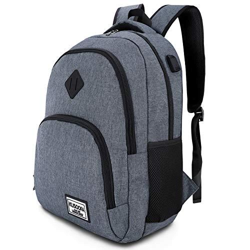 Laptop Rucksack Business Oxford Rucksack für 15.6 Zoll 20-35L mit USB-Ladeanschluss Schulrucksack für Arbeit Wandern Reisen Camping,für Herren (B6-Gray)