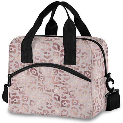 MNSRUU Insulated Lunch Bag Elegant Rose Gold Leopard Lunch Tote Reusable Cooler Bag Container with Adjustable Shoulder Strap