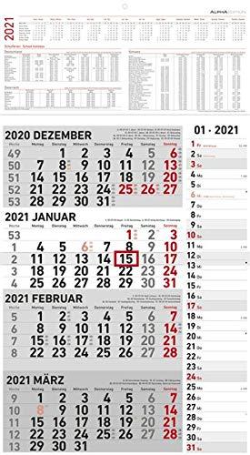 4-Monatskalender Kombi 2021 - Büro-Kalender 33x58,7 cm (geöffnet) - mit Datumsschieber - inkl. Jahresübersicht - Alpha Edition