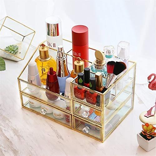 Shefure 透明なガラスカートリッジ収納引き出し化粧品は、デスクトップダストボックス仕上げジュエリースキンケア (Color : Golden)