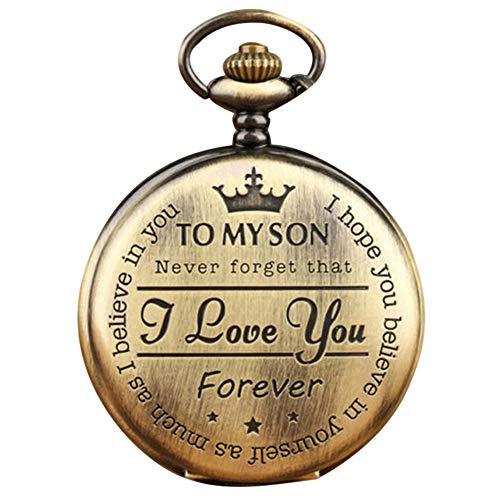 Tenflyer Herrenarmbanduhren, Quarz-Taschenuhr-Ziffer zu Meinem Sohn Love Roman Round Display Vintage mit Geschenkbox,Taschenuhren & Taschenuhren für Herren