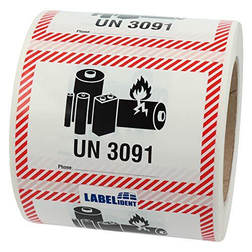 Labelident Transportaufkleber - enthält Lithium Metall Batterien UN 3091-100 x 70 mm - 500 Batterie Aufkleber auf 76 mm (3 Zoll) Rolle, Akku Etiketten