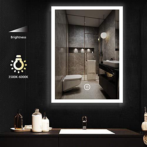 LITZEE 60x80cm Specchio da Bagno con Illuminazione a LED, Specchio da Parete Cosmetico Illuminato con Interruttore Tattile