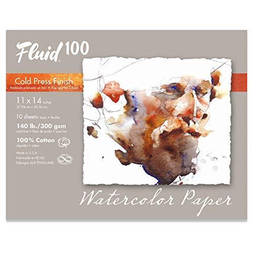 Fluid 100 Watercolor Paper 811722 140LB 100% Cotton Cold Press 11 x 14 Pochette, 10 Sheets