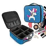 Azul Kawaii Unicornio Bolsa de Maquillaje Organizador de Cosméticos Portátil Estuche Mochila con Divisor Ajustable para Mujeres Niñas