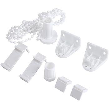 10 Rideau enrouleur en plastique Blanc Cordon Chaîne Connecteur Pinces