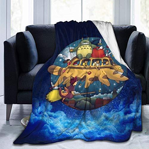 Manta de Franela Tela de Cepillo Extra Suave Súper cálida Mantas para sofás acogedora y Ligera Mundo Ghibli50 x40,W127cm X L102cm