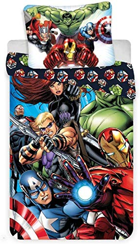 Jerry Fabrics - Set copripiumino per letto singolo, motivo Marvel Avengers City