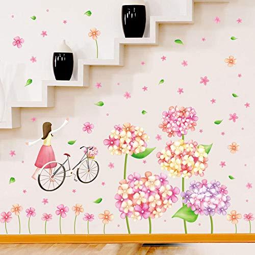 Leuke Bloemen Fiets Meisje Muurstickers voor Kids Kamers Kwekerij Baby Slaapkamer Kinderen Art Muurstickers Home Decoraties