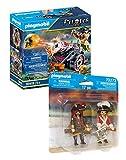 PLAYMOBIL Pirates Set de 2 Juegos 70415 70273 Pirata con Cañón + Capitán Pirata y Soldado