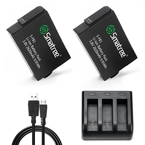 Smatree GoPro Fusionカメラ 用バッテリー2個+充電器 大容量 同時にバッテリー3個充電でき