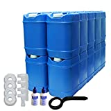5-Gallon Stackable Water Container kit (20 Total Gallons), 4 Pack, Blue, BPA Free, High Density Polyetholene (HDPE) with Built In Handle with Water Preserver plus 2 Additional Lids & 2 Total Spigots