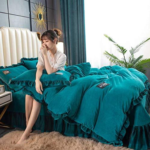 juegos de sábanas de 90 de oferta,Cama de estudiante de franela de bebé de color sólido engrosada cama doble individual funda nórdica funda de almohada juego de cuatro piezas-F_Cama de 2,0 m (4 pieza