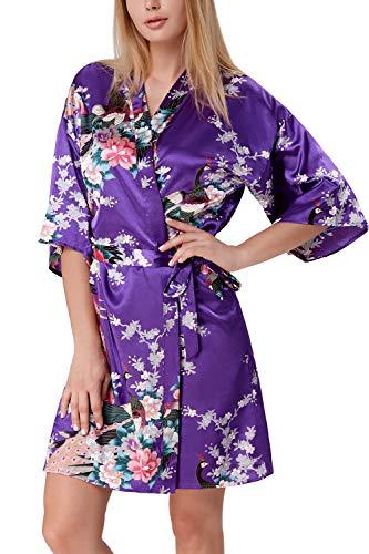 Zexxxy - Bata de satén para Mujer, Kimono, túnica Corta, Ropa de Noche, Albornoz Peacock y Flores Verde S
