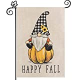 Happy Fall Garden Flag, hogardeck Vertical Double Sided Pumpkin Yard Flag, Thanksgiving Seasonal Holiday Decor with Buffalo Plaid Gnomes and Sunflowers, Outdoor Decorations 12.5 x 18 inch