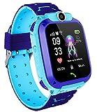 Reloj Inteligente para niños con posicionamiento Anti-perdida LBS-SOS, Adecuado para Android e iOS, con Juego Digital de Alarma de Chat de Voz, Regalos de cumpleaños para niños y niñas (Azul)