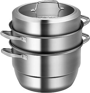 ollas para cocer al vapor grande Pasta cacerolas para induccion,Multi capa 3 capas Acero inoxidable 304 Multifunción Universal-28cm