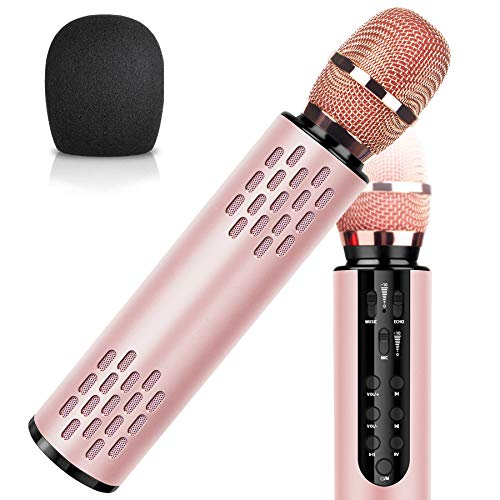 Wireless Bluetooth Karaoke Microphone with Dual Stereo Speaker for Cell Phone Tablet PC, Portable Handheld Singing Machine Gifts (2020 Upgraded Rose Gold)
