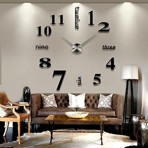 ZJchao - Reloj de pared 3D de vinilo DIY, moderno, con adhesivo. Espejo. Con pegatinas decoración, acrílico, negro