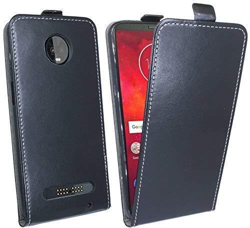 cofi1453 Klapptasche Schutztasche Schutzhülle kompatibel mit Motorola Moto Z3 Play Flip Tasche Hülle Zubehör Etui in Schwarz Tasche Hülle