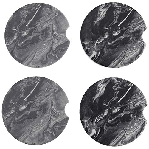 COFOZA Set of 4 Marble Absorbent Ceramic Car Coasters for Cup Holder with Finger Notch Easy Removal Best Auto Accessory Keep Vehicle Cupholder Dry and Clean with Gift Box