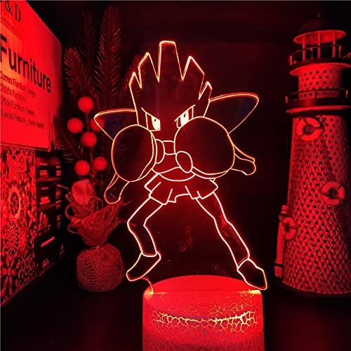 LHYXH Pokemon HitMontchan Lámpara de Anime 3D Nightlights LED 7 Color Cambiando Pokemon Sword and Shield Lampara para la decoración del Dormitorio(no Remote,Crack Base)