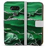 DeinDesign Étui Compatible avec LG G5 Étui Folio Étui magnétique Marbre Paillettes Look Vert