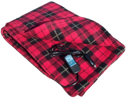 """Car Cozy 2 - 12-Volt Heated Travel Blanket (Red Plaid, 58"""" x 42"""") with Patented Safety Timer by Trillium Worldwide"""