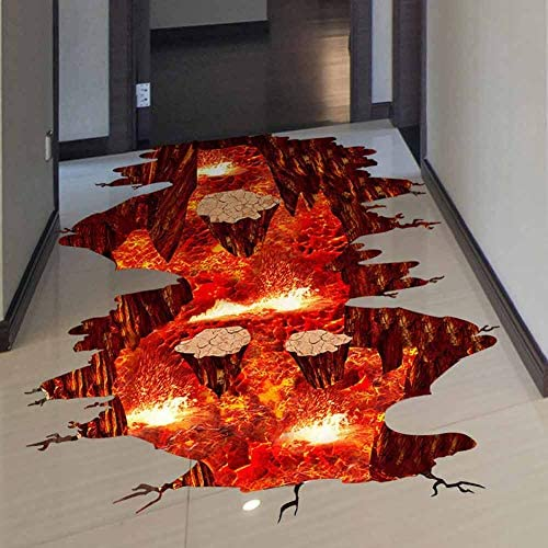 Creative 3D Space Wall Decals Removable PVC Magic Floor Flame and Lava Wall Stickers Murals product image