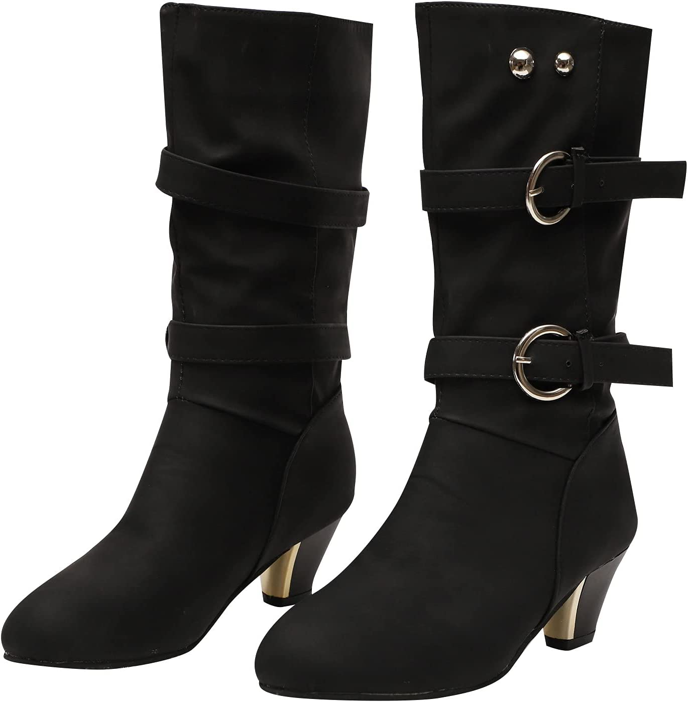 Cowboy Boots for Women Modern Western Pointed Toe Chunky Block C