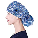 I@U Working Cap Adjustable with Buttons, Sweatband Cotton Ponytail Holder Long Hair, Tie Back Hats for Women Men Blue/Paisley