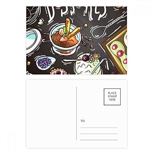 DIYthinker Desserts Schokoladen-Erdbeere Frankreich Postkartenset Geburtstag dankt Karte Mailing Side 20pcs 5.7 Zoll x 3.8 Zoll Mehrfarbig