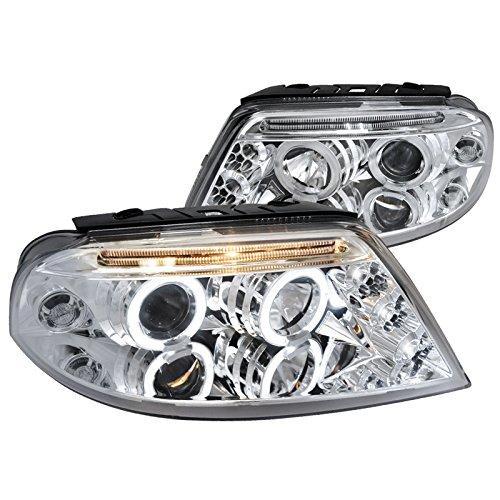 Spec-D Tuning LHP-PAS01-TM Volkswagen Passat Chrome Dual Halo Led Projector Headlights