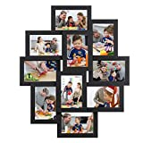 SONGMICS Collage Picture Frames, 4 x 6 Inches for 10 Photos, Assembly Required, Collage Multiple Photos, Glass Front, Black URPF20BK